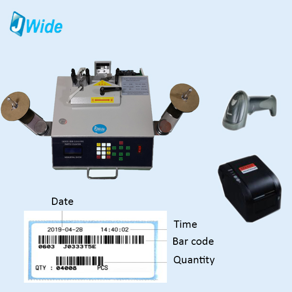counter with bar code printer and scanner